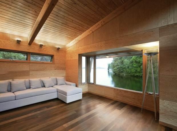 Casa de madera flotante de dise o casas de madera - Casas de madera por dentro ...