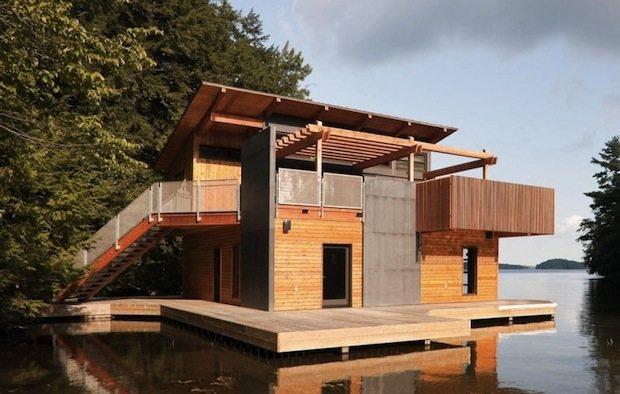 Casa de madera flotante de dise o casas de madera - Madera para casas ...